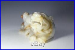 Chinese Jade Agate Detailed Carving of Foo Dog/ Lion and Cub