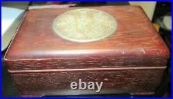 Chinese Men Carved White Jade Medallion Ebony Wood Trinket Jar Box