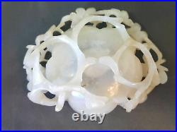 Chinese Ming Dynasty White Hetian Jade Carved Brush Washer