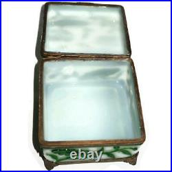 Chinese Peking Green & White Hand Carved Glass Hinged Bronze Mounted Box, 4