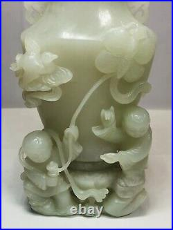 Chinese Qing Dynasty White Jade Carved Group Of Boy Vase And Cover