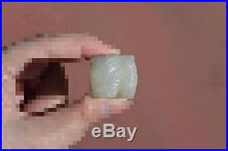 Chinese Scholar White Jade Nephrite Carved Carving Fu Foo Lion Dog Seal Chop