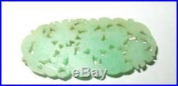 Chinese White & Apple Green Carved Fruit Designs Jade Medallion Pendant
