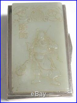 Chinese White Carved Jade And Sterling Silver Trinket Jar Box Signed