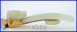 Chinese White Jade Carved Dragon Belt Hook Magnifying Glass Gump's Hong Kong Box