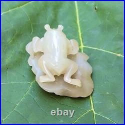 Chinese White Jade Toad and Lotus Carving