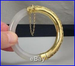 Chinese White Jade and Carved Gilt Silver Bangle 57321