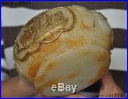 Chinese White jade Gilt Carved Mammon Wealth Money Treasure Bowl Pot Jar Crock