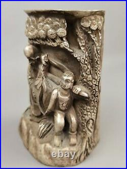 Chinese white metal hand carved figure