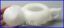 Collect Chinese White Jade Hand Carved Teakettle Teapot Teacup/4pcs Tea Tray Set