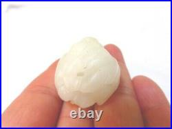 ESTATE OLD CHINESE ANTIQUE 19C CARVED WHITE JADE PENDANT, 33 grams