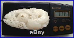 Estate Antique Carved Animal, Monkey & Basket Hetian Jade, Superb Quality