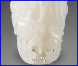 Exceptional Antique Chinese Qing Finely Carved White Jade Buddha Hand Sculpture