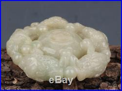Fine Antique Chinese Carved White Hetian Jade Pendant Amulet