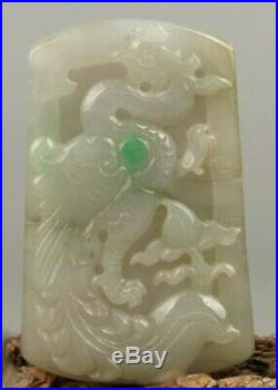 Fine Vintage Chinese Natural White-Apple Green Jade Hand Carved Phoenix Pendant