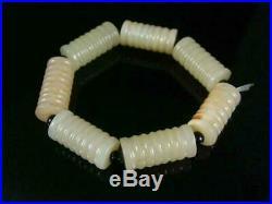 Fine Vtg/ Antique Chinese Celadon Jade Carved Prayer Carved Beads Bracelet