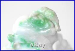 Floral & Birds Hand Carved CHINESE White & Apple Green JADEITE Urn Pot Opium Jar