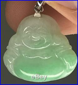 Genuine Chinese Jedite Jade White And Green Happy Buddah Carved Pendant Carving