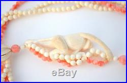 Gorgeous Chinese Carved Smiling Monkey Real Pink Coral Necklace