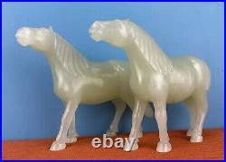 Gorgeous Mirror Pair Of Antique 1900s Chinese Hand Carved Jade Horses