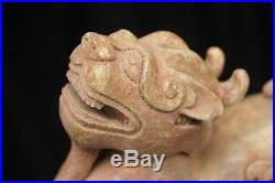 Han Dynasty Old Chinese Nephrite Hetian White Jade Tiger Dragon Statue Carving