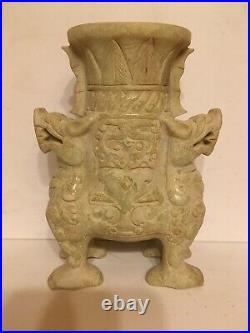 Hand carved chinese white jade vase with lid
