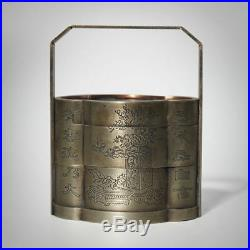 Handle White Copper Nickel Double Layer Jewelry Box Pine Plum Carving Craft Old