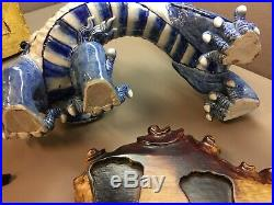 Heavy Porcelain Blue & White Vintage Chinese Feng Shui Dragon Carved Wood Base