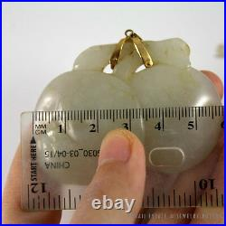 Important 19c Chinese Mutton Fat White Jade Carved Carved Pendant Necklace