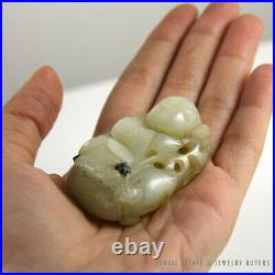 Important 19c Chinese Mutton Fat White Jade Carved Deity Reclaimed Artifact