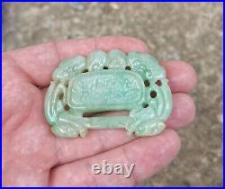 Jade Jadeite Green White Vintage Natural Hand Carved Pendant Amulet 41grams