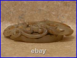 Jb Vintage Carved Chinese White Jade 2 Dragon Top Oval Pi Figurine Sculpture