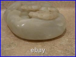 Jb Vintage Carved Chinese White Jade Boulder Scenery Figure Figurine Sculpture