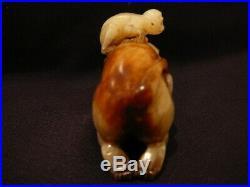 Jb Vintage Carved Chinese White Jade Monkeys Figure Figurine Statue Sculpture