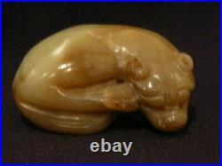 Jb Vintage Carved Chinese White Jade Tiger Figure Figurine Sculpture