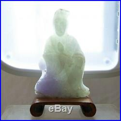 KUAN YIN Carved White Jade GODDESS OF MERCY Statue Figurine on Wood Base (KMEB)