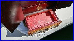 Large 12 Antique Chinese Wood Jewelry Box Hand Carved White Jade Accents