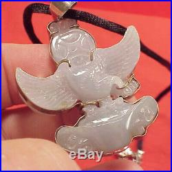 Large 2in Two Sided Chinese Eagle Hand-Carved White Jade Amulet Pendant Sterling