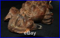 Large Antique Japanese white cedar wooden carved fortune toad w. 3D snail grain