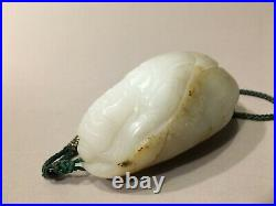 Large Chinese HETIAN White Jade Carvings of Pebble with Russet, 3 1/8 L