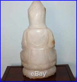 Large Chinese Hand Carved Natural White Jade Kwan Yin Statue withRosewood Stand