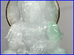 Large Chinese White Green Jadeite Carved Guanyin With 18k Gold Bail