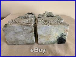 Large Pair of 9 Chinese Carved Jade Foo Dogs Marbled Green & White Jade