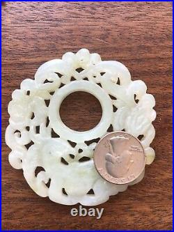 Large White Jade Pendant Chinese Round Carved Flowers And Leaves