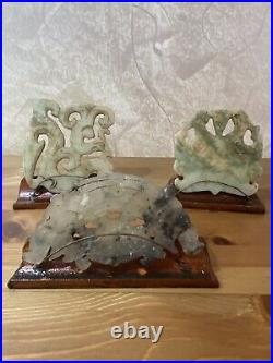 Lot 3 Antique Chinese hand carved green And White jade on wood base