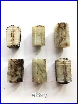 Lot Antique Old Chinese Tibetan White Jadeite Jade Carved Cylinder Barrel Beads