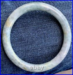 Natural Grade A Estate Antique Carved White Green Jade Bangle Bracelet Untreated
