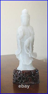 Nice Hand Carved Chinese White Jade Statue Of Kwan-Yin