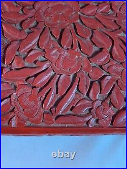 OLD CHINESE CINNABAR LACQUER CARVED On FLORAL SERPENTINE WHITE JADE LARGE BOX