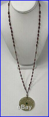 Old Antique CHINESE EXPORT Carved White Jade Necklace Pendant on amethyst Chain